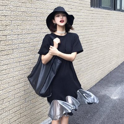 夏季女裝韓版寬松荷葉邊網紗拼接短袖魚尾裙顯瘦氣質中長款連衣裙