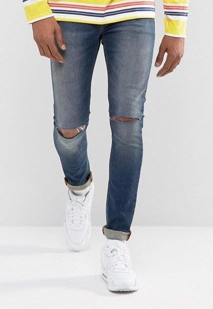 ◎美國代買◎ASOS雙膝刷破偏深藍刷色顯廋剪裁英倫頹廢風雙膝刷破洞合身牛仔褲~英倫街風~大尺碼