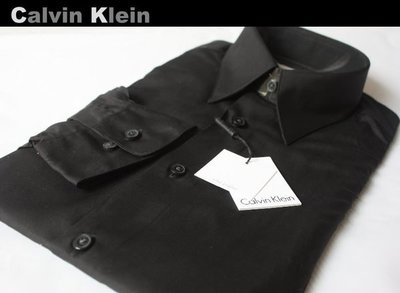 【Calvin Klein CK】100%全新正品 長袖 襯衫/ 素面黑色*15*加購領帶可同時享95折*CKS03*