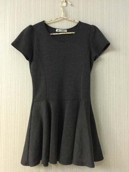 ☀APPLE SHOP☀韓國製 麻灰色短袖連身洋裝