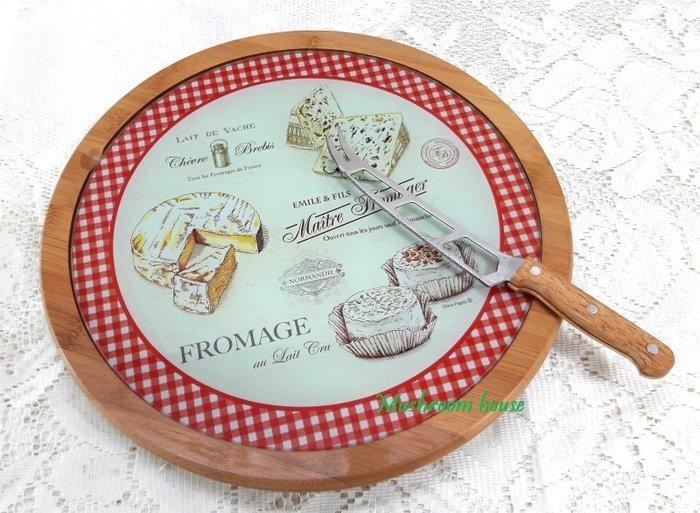 點點蘑菇屋 義大利Easy Life Design起司紅格子竹製玻璃面旋轉盤/附起司刀 蛋糕盤 麵包盤 點心盤 甜點擺盤