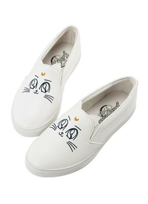預訂台灣Grace Gift-美少女戰士月亮飾釦皮革懶人鞋(白)