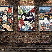 餐廳裝飾畫浮世繪日本豊原國周十二個月花合一勇齋歌川國