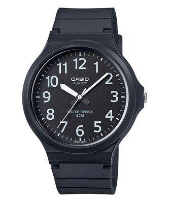 【幸福媽咪】CASIO 公司貨 超輕薄 大表面指針橡膠錶帶 男錶 黑面x白數字 石英錶 MW-240-1B