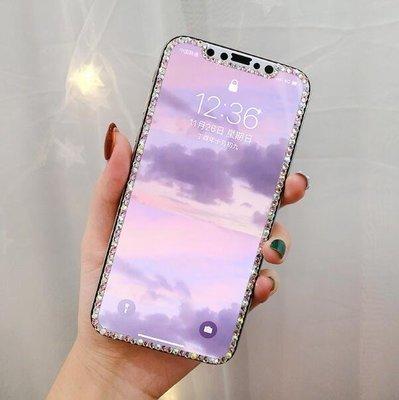 iPhoneX鋼化膜水鑽蘋果X手機全屏覆蓋貼膜奢華8plus玻璃膜潮女7p—莎芭