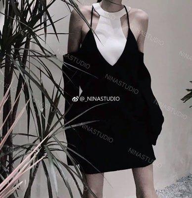 [ ohya梨花 ] =韓國帶回=最新春夏新款名媛韓妞慵懶穿搭設計師款簡約黑白縷空造型兩件式套裝