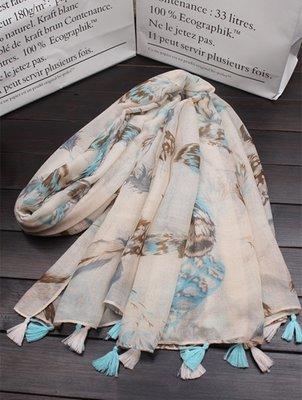 【Lady Luck服飾】波西米亞超大棉麻圍巾女春夏季海邊防曬沙灘巾羽毛長圍巾披肩