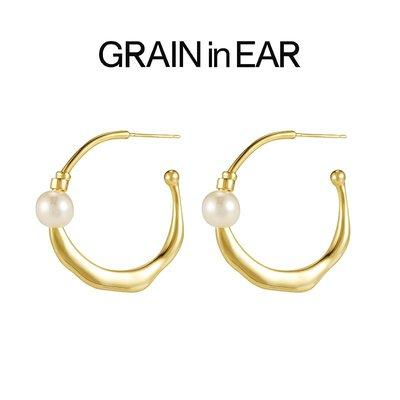 SC STORE~GRAIN in EAR 法式簡約天然珍珠 小眾設計個性 18k金 耳飾耳環 女