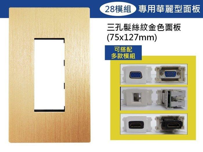 【易控王】三孔時尚髮絲紋面板+28模組/可放電源/VGA模組HDMI模組等各式訊號插座/設計師愛用款 (40-402D)