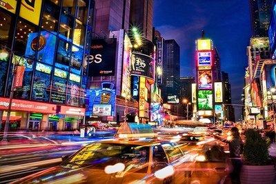 〔無孔Blue〕紐約時代廣場D-木質1000片拼圖 益智 紓壓