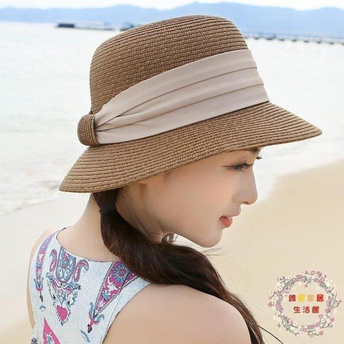 遮陽帽草帽沙灘帽子女夏天海邊海灘太陽帽春天防曬帽可折疊涼帽遮陽帽