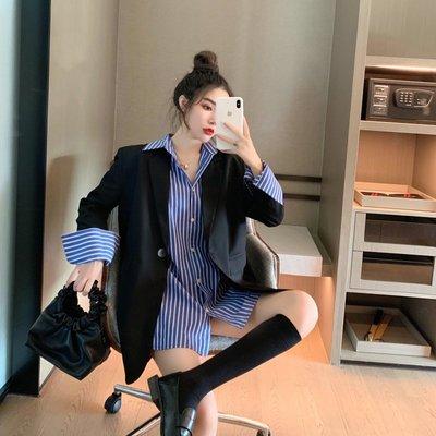 Miss正韓秋冬季女裝心機條紋寬松襯衫女+正韓英倫風炸街黑色小西裝外套氣質二件套裝