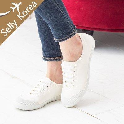 正韓 小白鞋 拼接 綁帶 奶油頭-Selly-沙粒-(KR009)3色