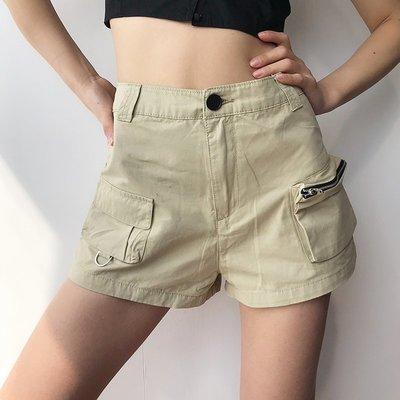 幸運格雜貨鋪工裝短褲2020春夏新款ins帥氣高腰顯瘦口袋設計卡其色休閒熱褲女