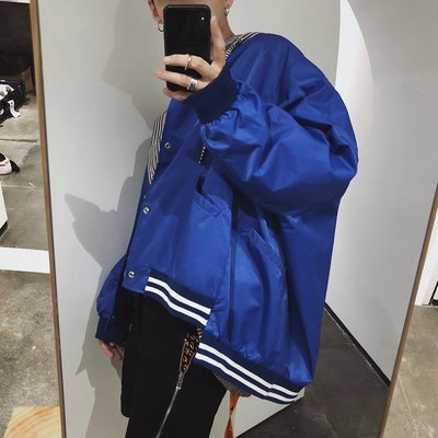 夾克 外套 LOOKUN春裝韓版潮牌男生錯位超寬大夾克外套