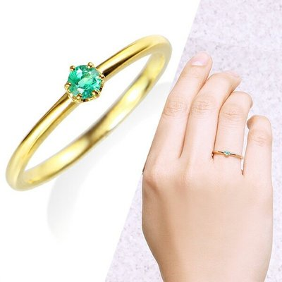 *misaki*の日本Jewelry純代購【日本網路飾品】【5月誕生石】「天然緑寶石」 10K黄K金戒指【東京 本店】