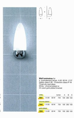 德國名牌 LIMBURG WALL LUMINAIRE FOR 1 X E27 60W GLS LAMP MODEL NO. 7943