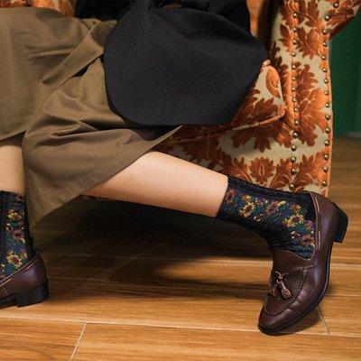 *Miss Ha Ha*Q002.復古森系女孩浮雕麻花織紋花朵長襪《五色》.預購191020