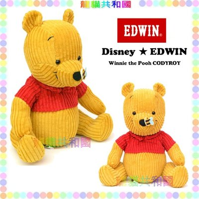 ※龍貓共和國※日本迪士尼DISNEY《限量款EDWIN小熊維尼Pooh可愛蜜蜂 娃娃 玩偶 布偶18公分》禮物
