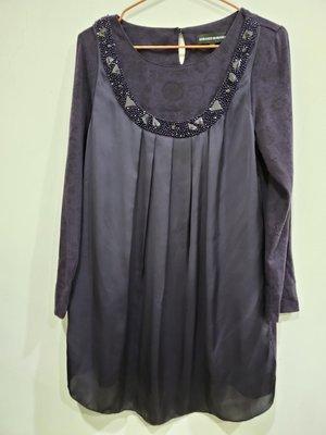 美裳免運  LORANZO ROMANZA 雪紡紗混搭棉質假二件長袖上衣紫色娃娃裝 領口綴寶石設計
