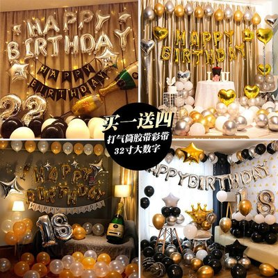 網紅生日快樂布置女孩男朋友派對場景背景墻驚喜氣球老公裝飾用品拉花家家備百貨