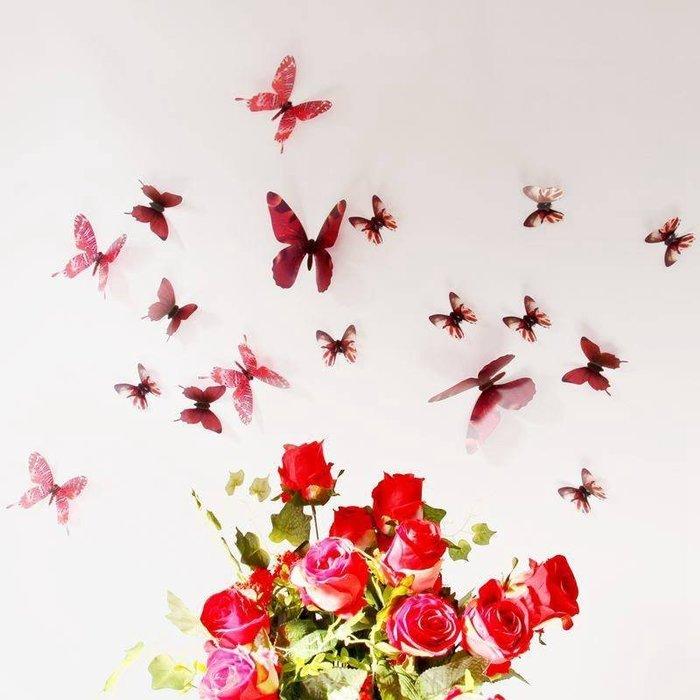☆║♥愷心小舖♥║☆歐美進口~創意立體 3D 浪漫 蝴蝶  化妝室 臥房  婚佈背景 牆壁 華麗~超值18隻一套!紅色款
