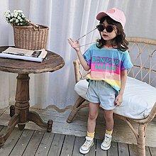 中大童 思家良品 大童裝 女童裝 2019/5/17夏裝新品90-140CM 韓版 女童 彩色條紋 短袖T恤