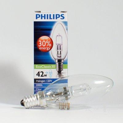 附發票 有保障 PHILIPS 飛利浦 42W 110V E14 EcoClassic30 鹵素燈泡 可調光 另有28W 桃園市