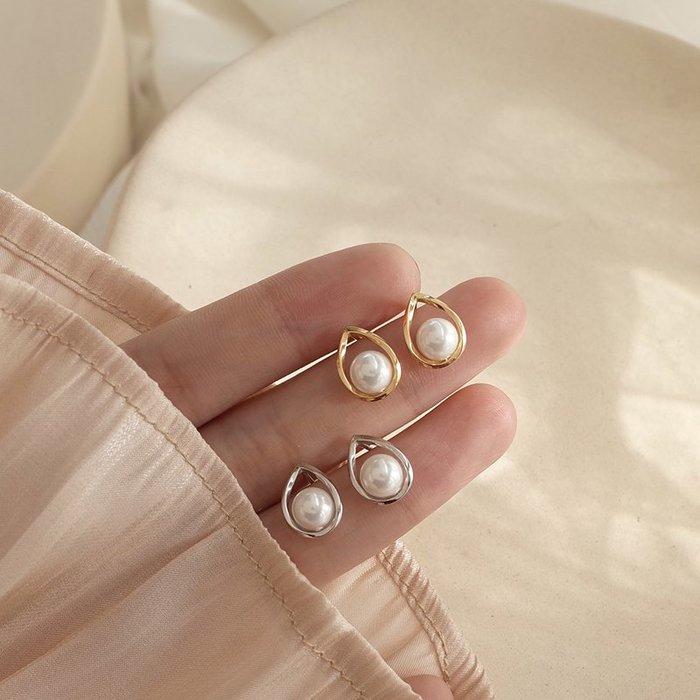 韓國Baby~【迷度】通體925純銀小巧水滴珍珠耳釘氣質日常 高級感耳環 法式