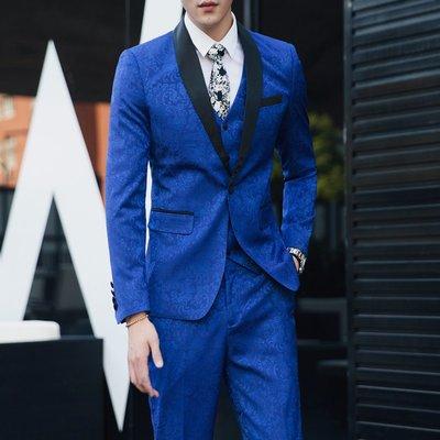 【型男風尚】AZ0280*S-5XL西裝三件套 禮服 大碼 印花西裝 休閒西服套裝