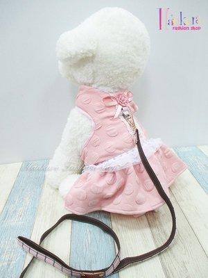☆[Hankaro]☆寵愛毛小孩粉色蝴蝶結裙裝胸背含牽繩(共三種尺寸)