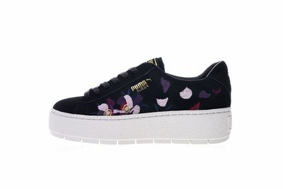 "Puma Suede Platform Trace Flowery""麂皮刺繡黑花""百搭 經典 休閒滑板鞋 367810-02 女鞋"