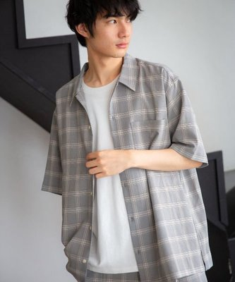 【傑森精品】日本 niko and 日式 日系 清爽 縐布 OVERSIZE 寬鬆 格紋 格子 短袖 五分袖襯衫