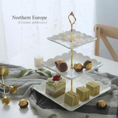 水果盤歐式陶瓷水果盤客廳創意現代糖果點心托盤玻璃蛋糕籃三層收納架子【全館免運】