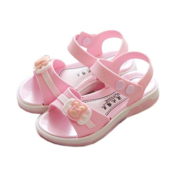 2018新款兒童涼鞋女童公主鞋學生鞋軟底沙灘鞋女孩小中童平底涼鞋