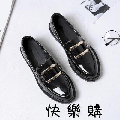 英倫風小皮鞋女學院風黑色工作鞋