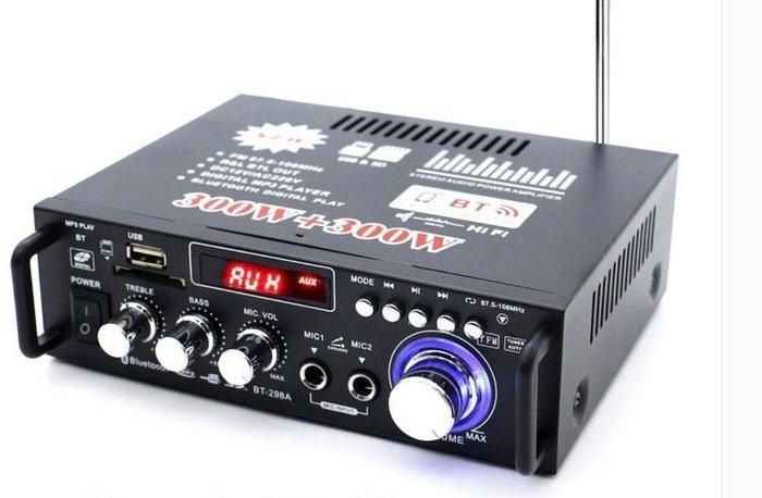 ~現貨~多功能綜合雙麥克風藍芽擴大機/家用/車用 40W+40W 藍芽傳輸5.0 USB/SD/FM收音/LED顯示