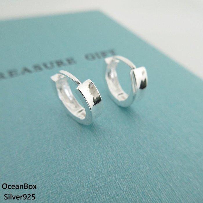☆§海洋盒子§☆凹面亮面拋光.圈圈純銀易扣針式耳環OB5013(A)《925純銀》