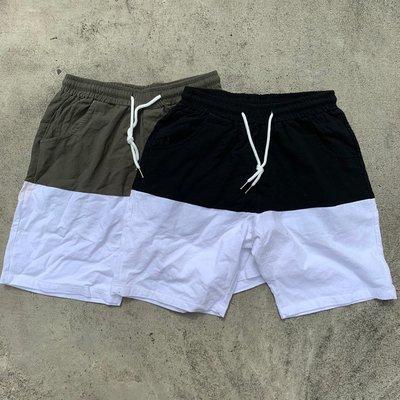 【inSAne】 韓國購入 / 抽繩 / 拼接 / 短褲 / 單一尺寸 / 黑色 & 綠色