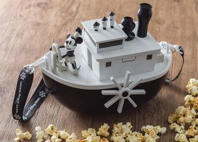 Miss莎卡娜代購【東京迪士尼樂園】﹝預購﹞米奇90歲週年紀念 復古蒸汽船 造型爆米花桶 斜背帶小物收納桶