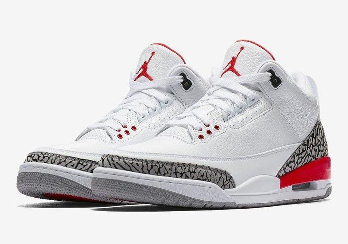 全新公司貨 Nike air Jordan retro 3 Katrina 白紅 Sz 10.5 136064-116