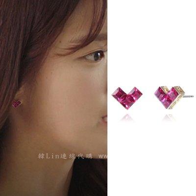 【韓Lin代購】韓國 GET ME BLIN- 明星同款抗敏925銀針愛心耳環 HEART LEGO EARRING
