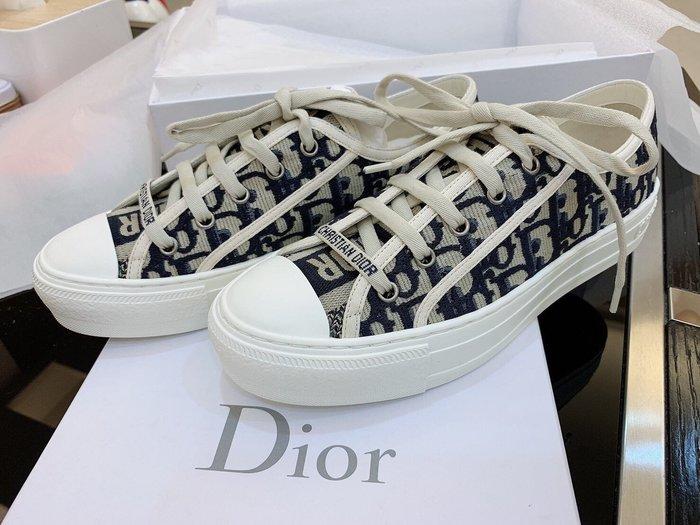 DiOR J'ADior 最新款刺繡logo 帆布鞋平底鞋 休閒鞋全新尺寸37 專櫃真品