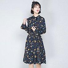 現貨【808】連身裙 日系碎花蝴蝶結長袖連身裙。☆*藍荳荳小舖*☆
