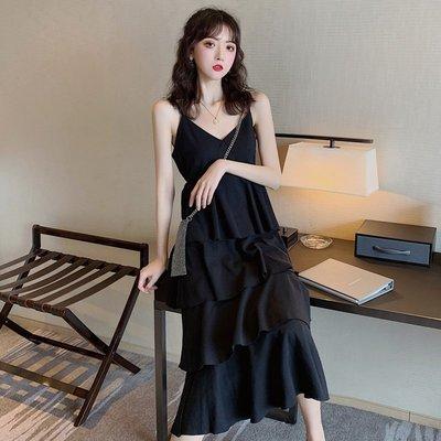 時尚女裙  法式復古蛋糕裙夏季新款中長款顯瘦吊帶裙子高腰V領連衣裙女
