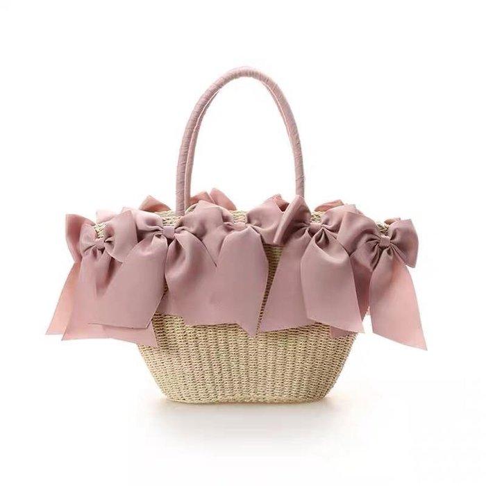 Netshop collection 日本品牌 夏季限定立體蝴蝶結甜美海灘編織包 手提籃 2色