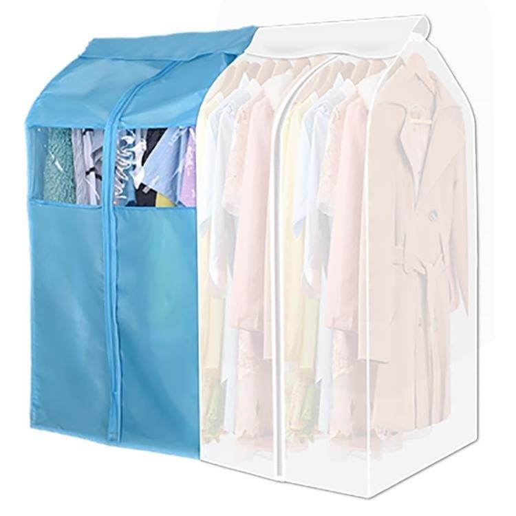 全館免運``衣服防塵罩衣服套防塵袋大衣罩掛式衣物收納袋透明罩家用 【粉紅豬】