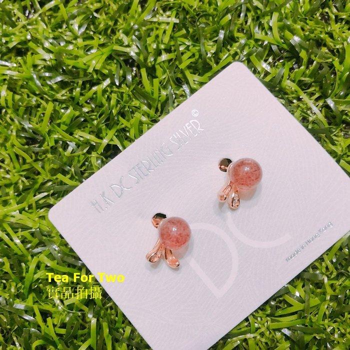 香港正生(現貨no1) -925純銀 天然草莓晶兔子耳釘-玫瑰金