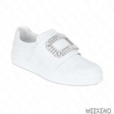 【WEEKEND】 ROGER VIVIER Sneaky Viv 皮革 鑲鑽 休閒鞋 懶人鞋 白色