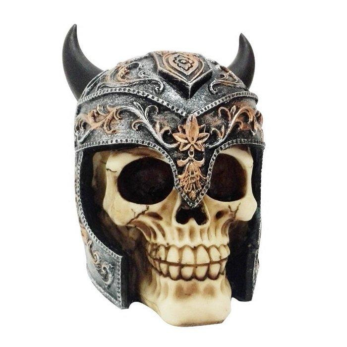 骷顱頭盔 擺飾樹脂 模擬人頭骨模型 玩具恐怖搞怪萬聖節道具_☆找好物FINDGOODS ☆